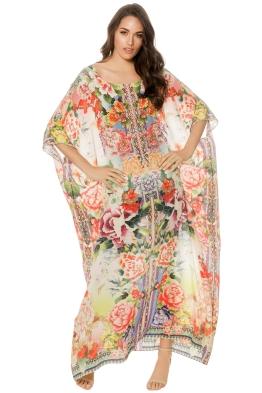 Camilla - Flower Hour Round Neck Kaftan - Print - Front