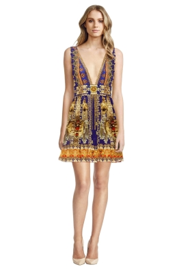 Camilla - La Chaquetilla V Neck Short Dress - Prints - Front