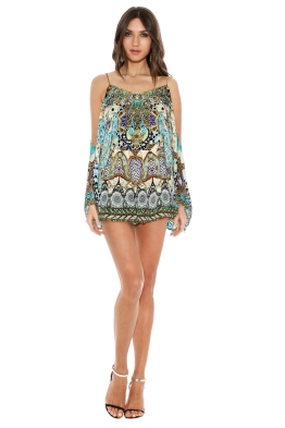 Camilla - Meet Me In Casablanca Drop Shoulder Playsuit - Prints - Front