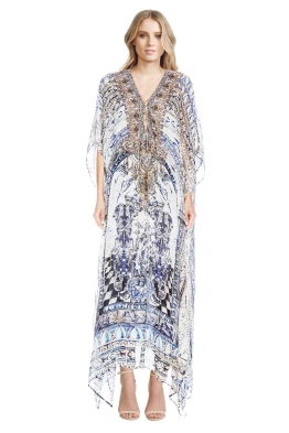 Camilla - Pillars of Agua Lace Up Kaftan - Back - Prints