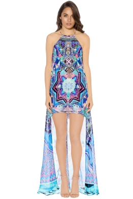 Camilla - Threads of Cosmos Short Sheer Overlay Dress - Front