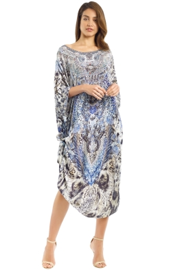 Camilla - Tribal Jewels Kaftan - Blue - Front