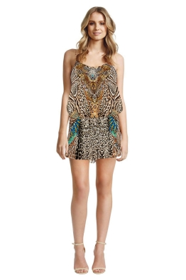 Camilla - Warrior Wanderlust Shoestring Strap Playsuit - Front