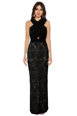 Carla Zampatti - Lace Gown In Black - Black - Front