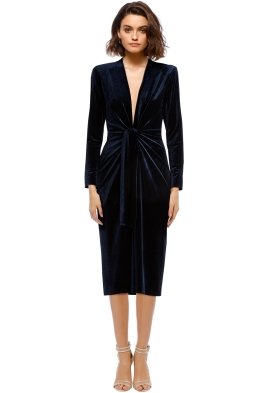 Carla Zampatti - Lapis Velvet Dress - Front