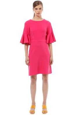 Closet London - Tie Back Ruffle Dress - Pink - Front