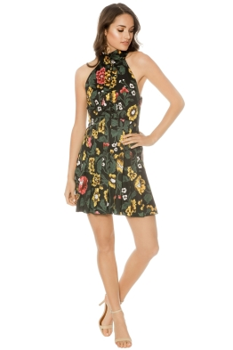 CMEO Collective - Another Lover Short Sleeve Dress - Black Floral - Front