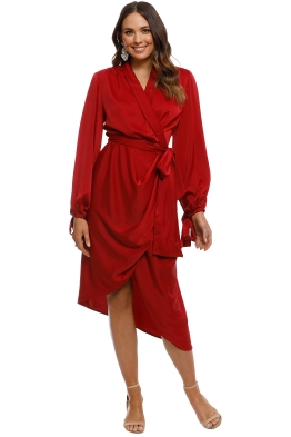 CMEO Collective - Influential LS Dress - Crimson - Front