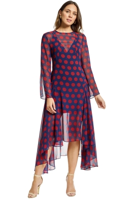 Cmeo Collective - Unending LS Midi Dress - Navy Spot - Front