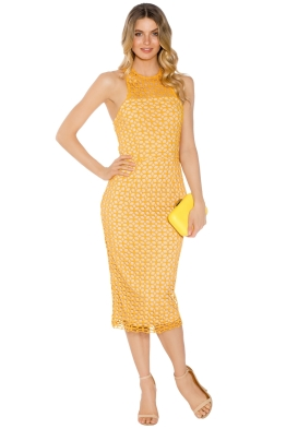 Cooper St - Karlie High Neck Lace Dress - Yellow - Front