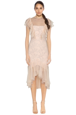 Cooper St - Rosie Lace Ruffle Dress - Almond - Front