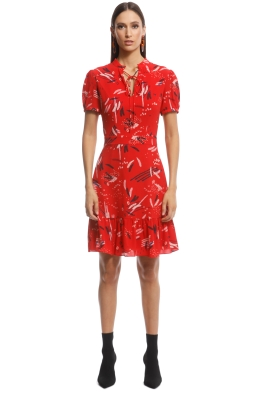 Cue - Abstract Brushstroke Ruffle Hem Dress - Red - Front