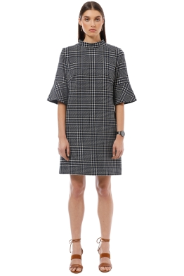 Cue - Blue Check Shift Dress - Grey - Front