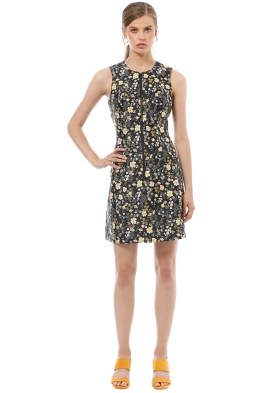 CUE - Floral Jacquard Dress - Black Floral - Front