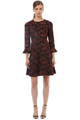 Cue - Metallic Floral Jacquard Dress - Red Print - Front