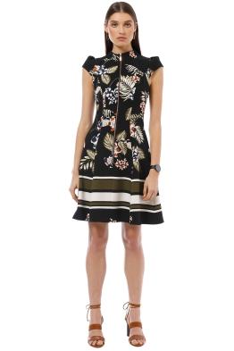 Cue - Palm Leaf Zip Front Dress - Black - Front