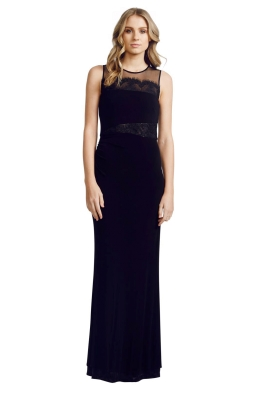 David Meister - Eyelash Gown - Front - Black