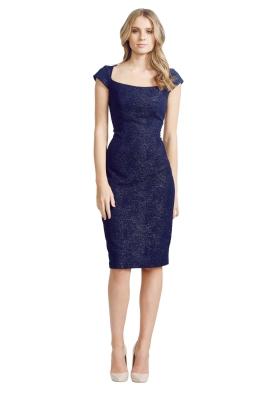 David Meister - Jacquard Dress - Front - Blue