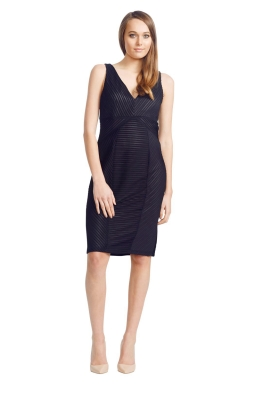 David Meister - Ribbed Knit Dress - Front - Black