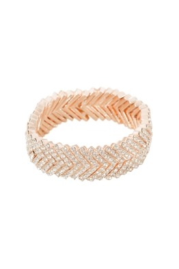Adorne - Diamante Stacked V Cuff - Rose Gold - Front