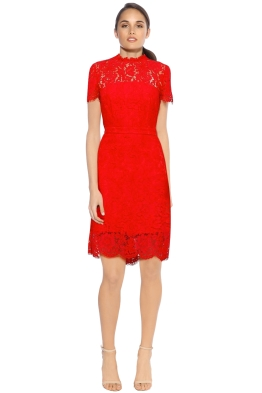DVF - Alma Short sleeve Dress - Red - Front