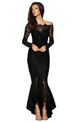 Elle Zeitoune - Marchesa Gown - Black - Front