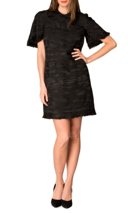 Ellery - Sansone Cape Sleeve Dress - Black - Front