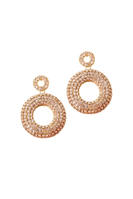 Adorne - Encrusted Ring Drop Statement Earrings - Front