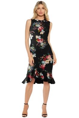 Erdem - Louisa Floral Print Neoprene Dress - Black - Front