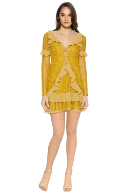 For Love and Lemons - Daphne Lace Mini Dress - Chartruese - Front