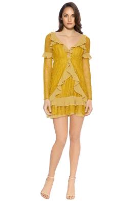 For Love and Lemons - Daphne Lace Mini Dress - Chartruese - Front