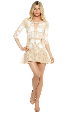 For Love & Lemons - Mallorca Embroidery Dress - Latte - Front