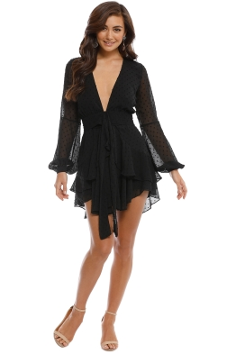 For Love and Lemons - Tarta Long Sleeve Mini Dress - Black - Front