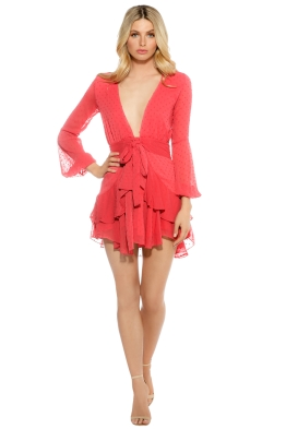 For Love & Lemons - Tarta Long Sleeve Mini Dress - Flamingo - Front