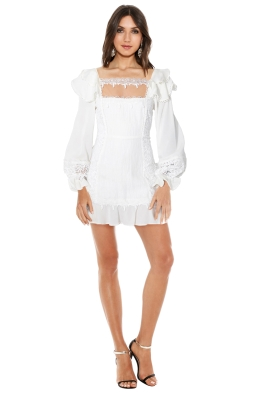 For Love & Lemons - Crema Silk Linen Dress - Front