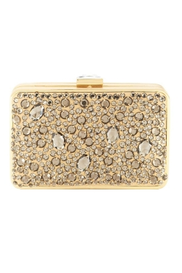 Franchi - Gold Jewel Box Clutch - Gold - Front
