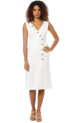 Friend of Audrey - Dylan Buttoned Dress - White - Front