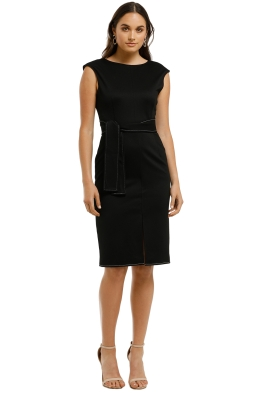 Friend of Audrey - Zuri Contrast Stitching Midi Dress - Black - Front