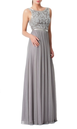 George - Maci Gown - Light Grey - Front