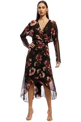 Ginger & Smart - Fragment Wrap Dress - Burgundy - Front