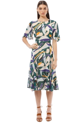 Gorman - Dancing Leaves Dress - Green Print - Front