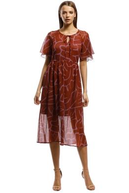 Gorman - Monstera Dress - Burgundy Print - Front