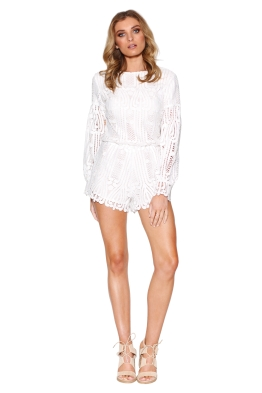 Ministry of Style - Lattice Lace Playsuit - Ivory - Front