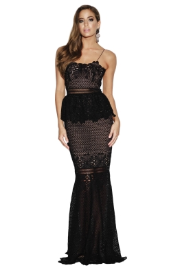 Grace & Hart - Frilling Around Gown - Black - Front