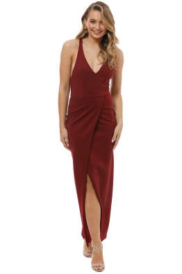 Grace and Hart - Gold Rush Neon Gown - Wine Red - Front