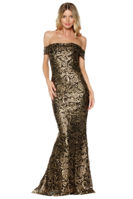 Grace and Hart - Gold Rush Off the Shoulder Gown - Gold - Front