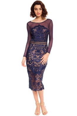 Grace and Hart - Renaissance Midi Dress - Navy - Front