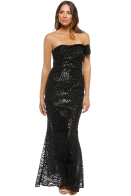 Grace & Hart - Shooting Stars Fitted Gown - Black - Front