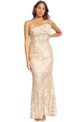 Grace and Hart - Shooting Stars Fitted Gown - Gold - Front