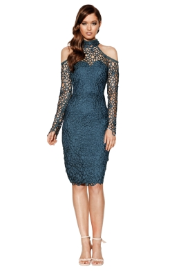Grace & Hart - Scandal Fitted Midi - Teal - Front